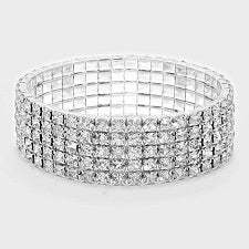 Rhinestone Stretch Bracelet 5 Rows - STREET SMART LEGACY CLOTHING