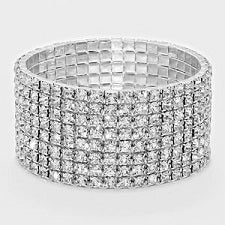 Rhinestone Stretch Bracelet 10 Rows - STREET SMART LEGACY CLOTHING