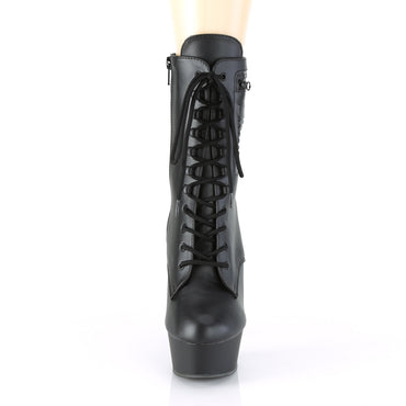 Delight 1020PK Black Platform Ankle Boots with Zip Pocket
