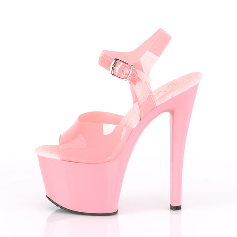 Sky 308N Ankle Strap 7 Inch Platforms Baby Pink (Jelly-Like)