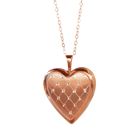 Heart Locket Necklace Cross Stitch Diamonds