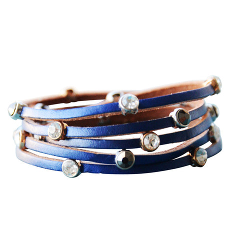 Leather Crystal Bracelet Lapis Blue