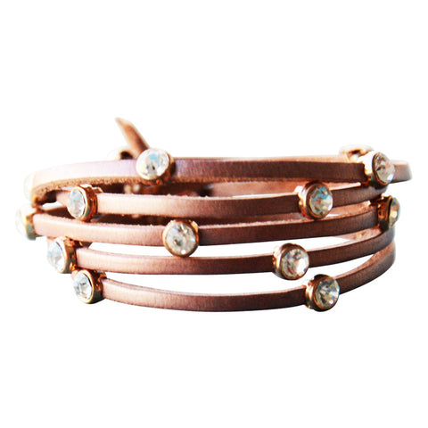 Leather Crystal Bracelet Tan