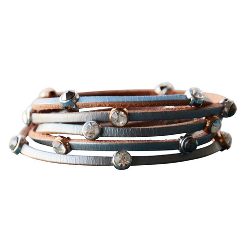 Leather Crystal Bracelet Light Grey