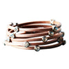 Leather Crystal Bracelet Nude