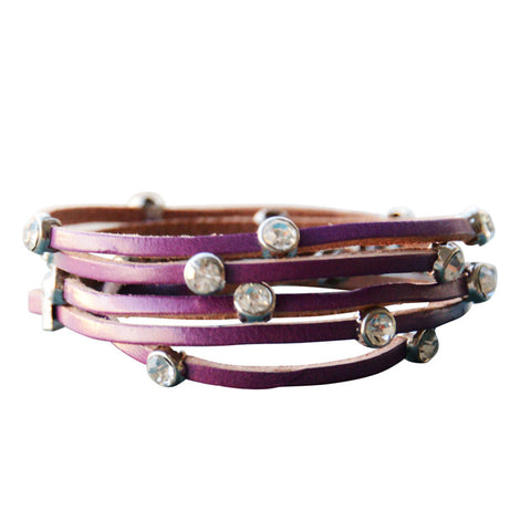 Leather Crystal Bracelet Purple