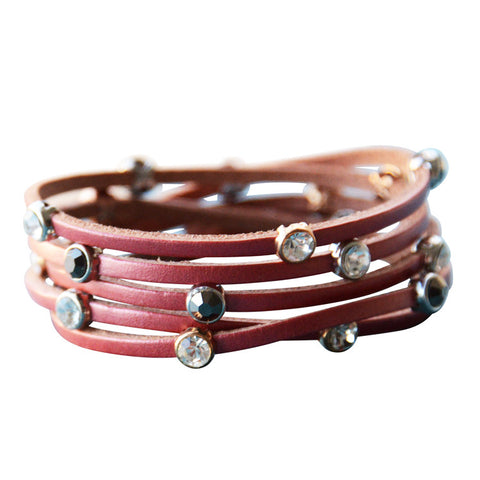 Leather Crystal Bracelet Watermelon Blush