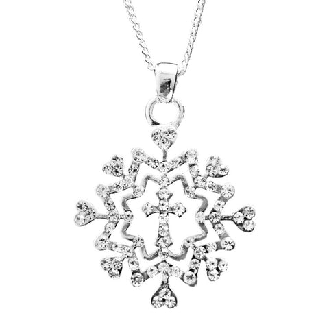Snowflake Necklace Cross Small