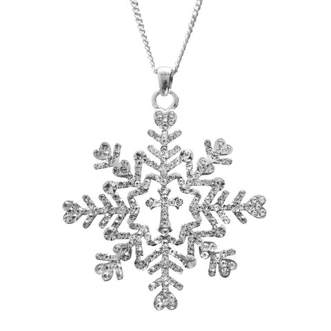 Snowflake Necklace Cross Large