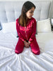 Long Satin Women Pyjama Set [Red]
