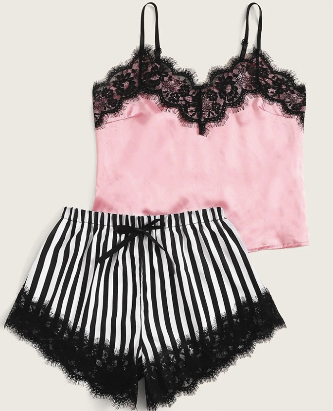 Striped Satin and Lace Pyjama Set