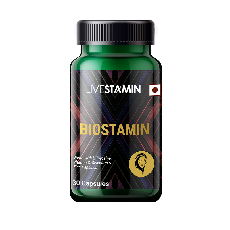 Livestamin Biostamin, Combination of Biotin with L-Tyrosine, Vitamin C, Selenium, Zinc, Iron, Folic acid and Vitamin B12-30 Capsules