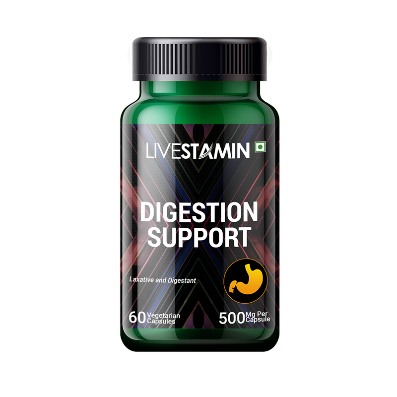Livestamin Digestion Support Capsules Herbal Digestion Supplement (60 Vegetarian Capsules)