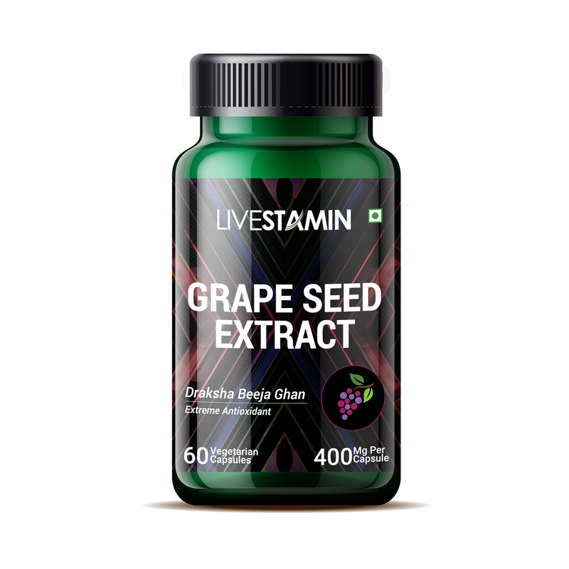 Livestamin Grape Seed Extract (Proanthocyanidins > 95%), 400mg – 60 Vegetarian Capsules