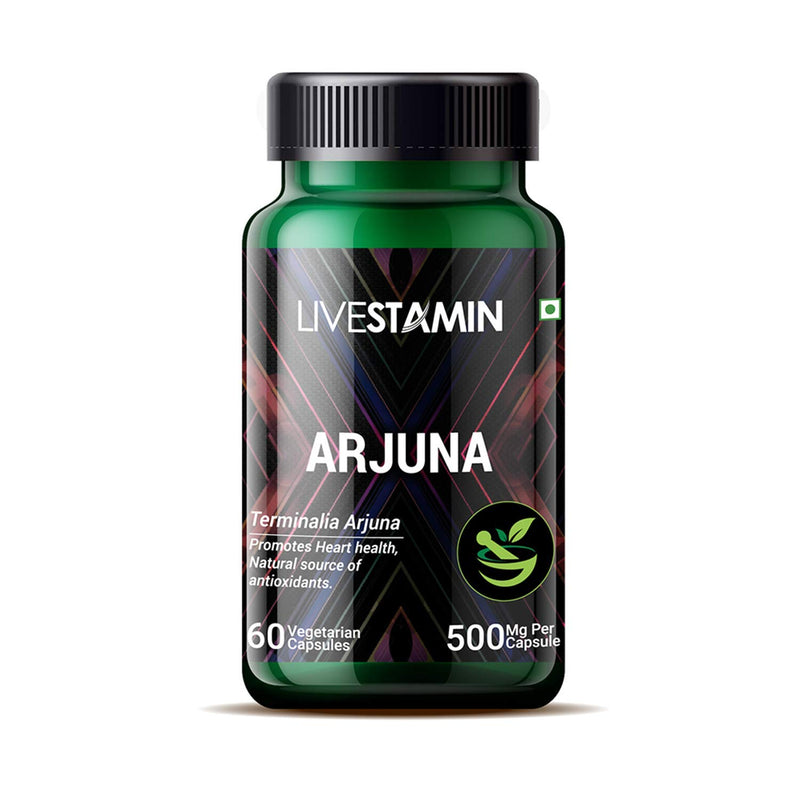 Livestamin Arjuna Extract Supplement 500 mg - 60 Vegetarian Capsules