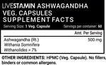 Livestamin Ashwagandha Extract Supplement (Withanolides >7%) 500 mg - 60 Vegetarian Capsules