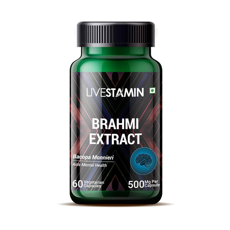 Livestamin Brahmi/Bacopa Monnieri Extract (Bacosides > 20%) Supplement, 500 mg - 60 Vegetarian Capsules