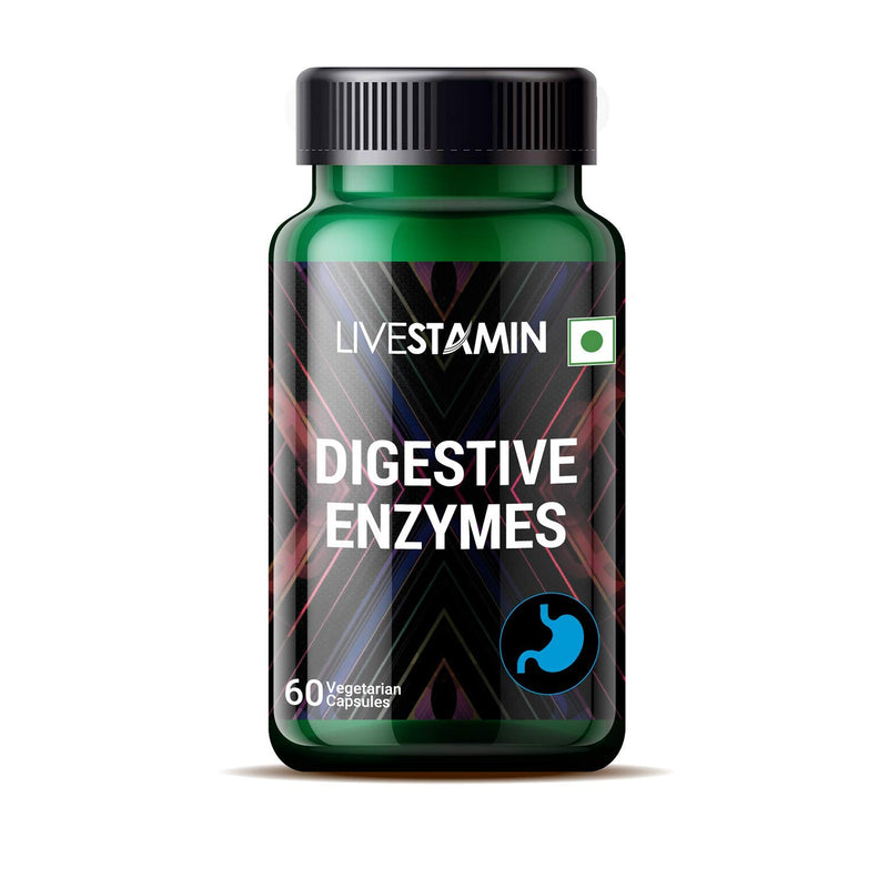 Livestamin Digestive Enzymes Supplement for Healthy Digestion – 60 Vegetarian Capsules