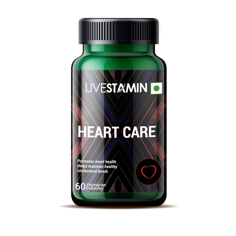 Livestamin Heart Care Supplement, Arjuna, Moringa, Ashwagandha, Green Tea, Curcumin - 60 Vegetarian Capsules