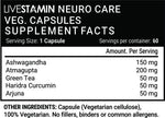 Livestamin Neuro Care Health Supplement - Ashwagandha, Green Tea, Turmeric (Curcumin), Arjuna, Atmagupta Extract 500 mg - 60 Vegetarian Capsules