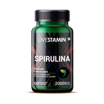 Livestamin Spirulina Supplement, 500 mg - 60 Vegetarian Capsules