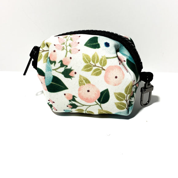 White Floral Poop Bag Holder