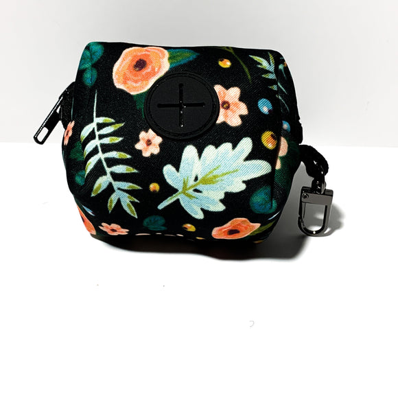 Black Floral Poop Bag Holder