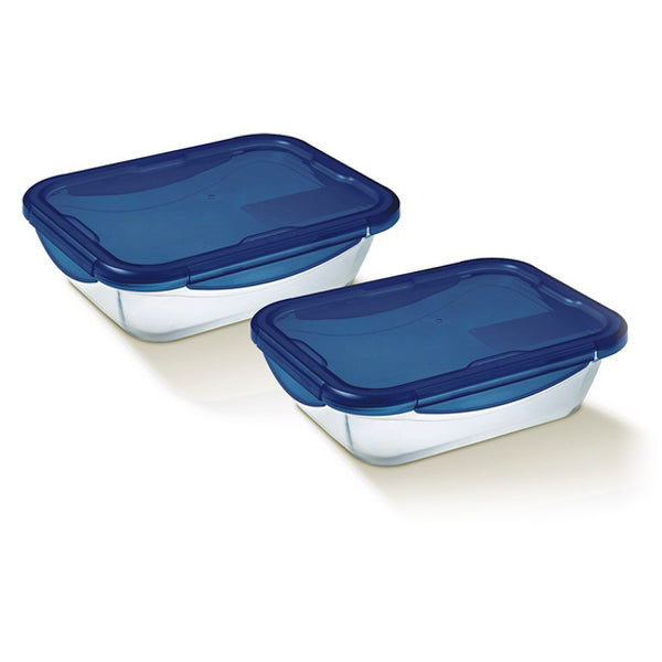 Ensemble de Boîtes à Lunch Pyrex Cook & Go (2 pcs) Transparent Verre Borosilicaté