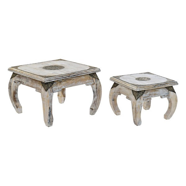 Table d'Appoint Dekodonia Bois de manguier Laiton (2 pcs)