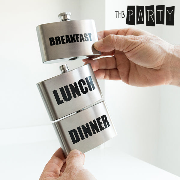 Th3 Party Breakfast-Lunch-Dinner Metallic Flask
