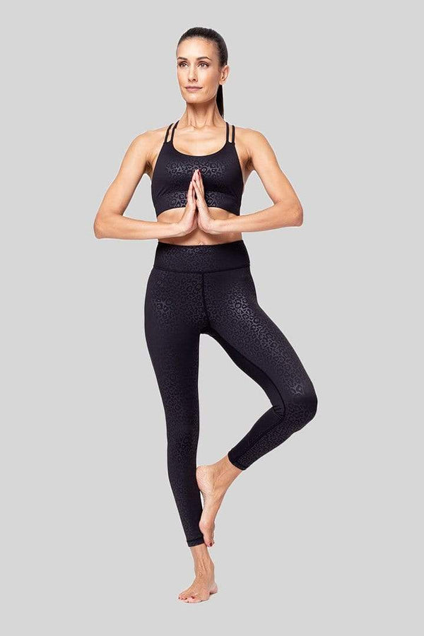 Rockell 7/8 Legging, Black Leopard Embossed