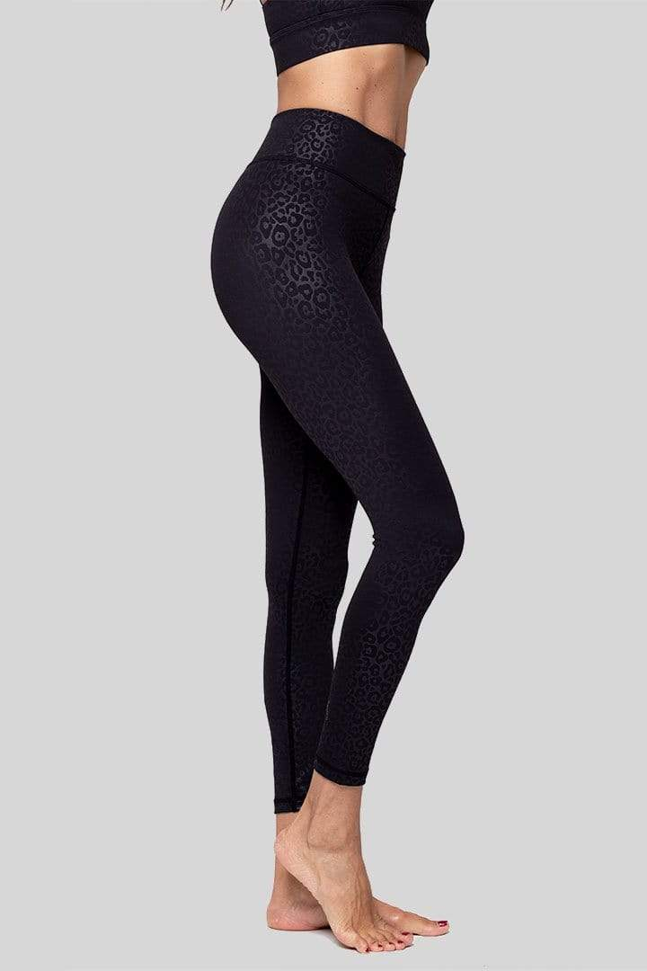 Rockell 7/8 Legging, Black Leopard Embossed | Vie Active