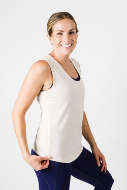 Merino Luxe Jen Scoop Tank, Heather Oatmeal | Vie Active