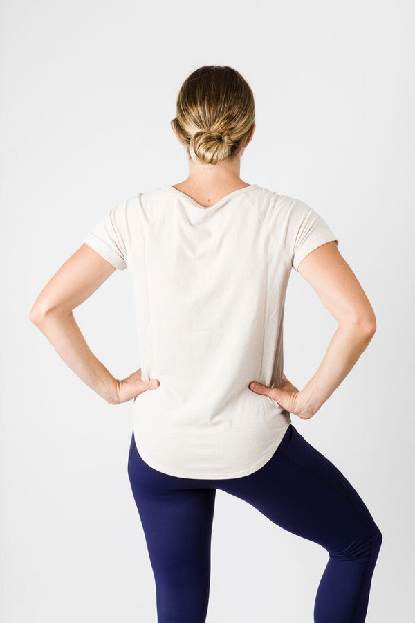 Merino Luxe Teresa Tee, Heather Oatmeal | Vie Active