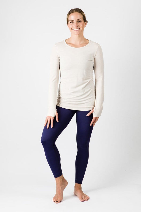 Merino Luxe Farrah Long Sleeve, Heather Oatmeal