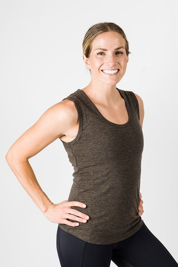 Merino Luxe Jen Scoop Tank, Heather Charcoal