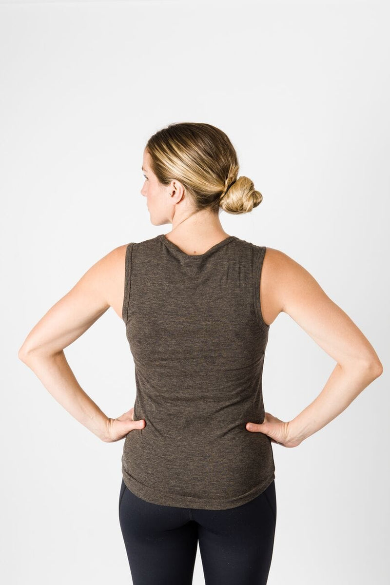Merino Luxe Jen Scoop Tank, Heather Charcoal | Vie Active
