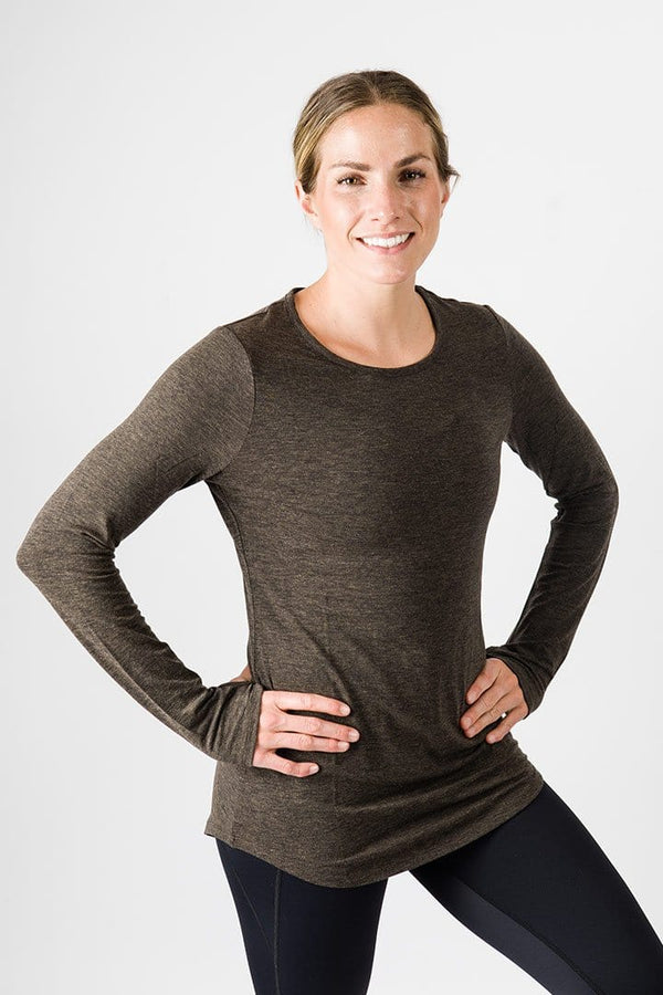 Merino Luxe Farrah Long Sleeve, Heather Charcoal