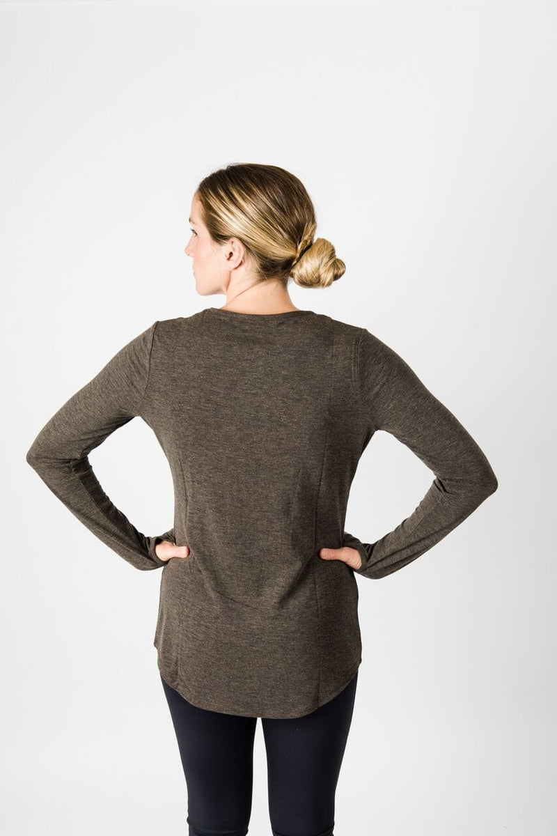 Merino Luxe Farrah Long Sleeve, Heather Charcoal | Vie Active