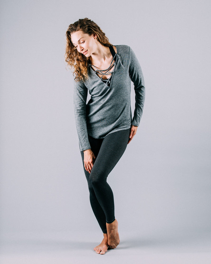 Felicia Tie Up Long Sleeve, Slate Grey | Vie Active