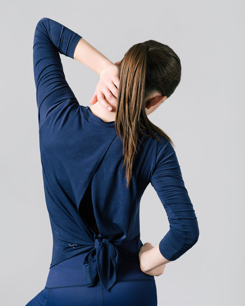 Aly Crossback Long Sleeve, Ink Blue | Vie Active