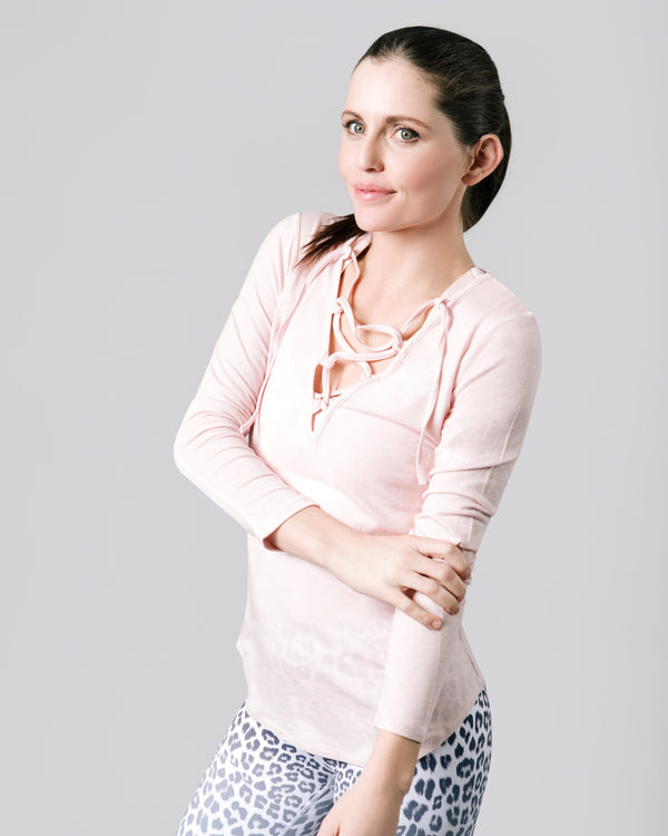 Felicia Tie Up Long Sleeve, Blush