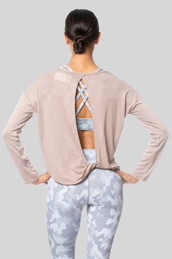 Alia L/S Twist Top, Oatmeal