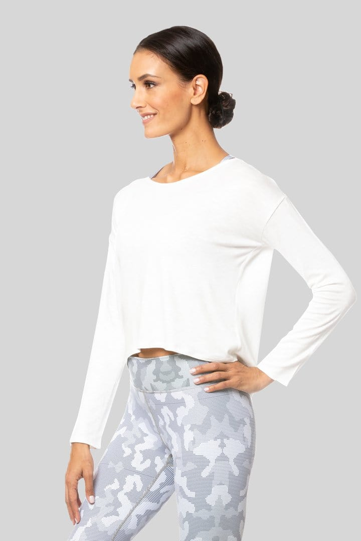 Alia L/S Twist Top, Ivory | Vie Active