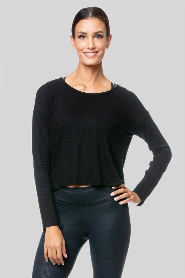 Alia L/S Twist Top, Black
