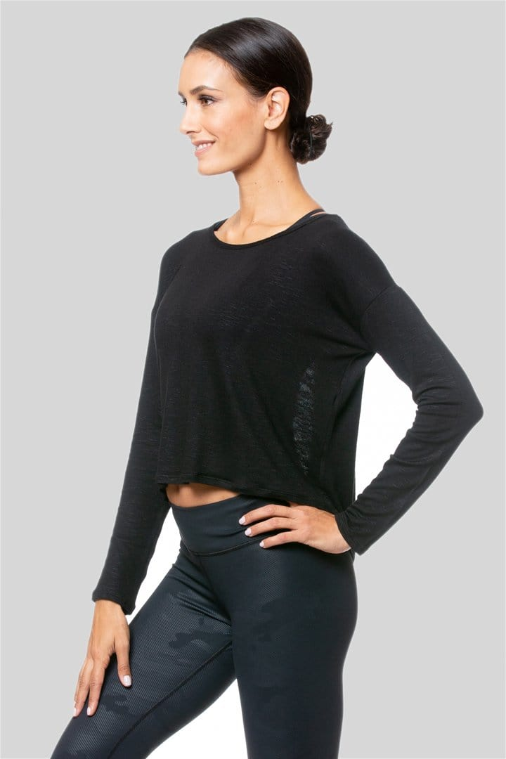 Alia L/S Twist Top, Black | Vie Active