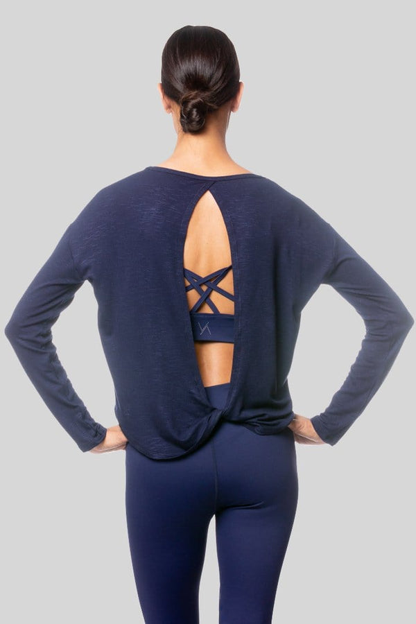 Alia L/S Twist Top, Navy