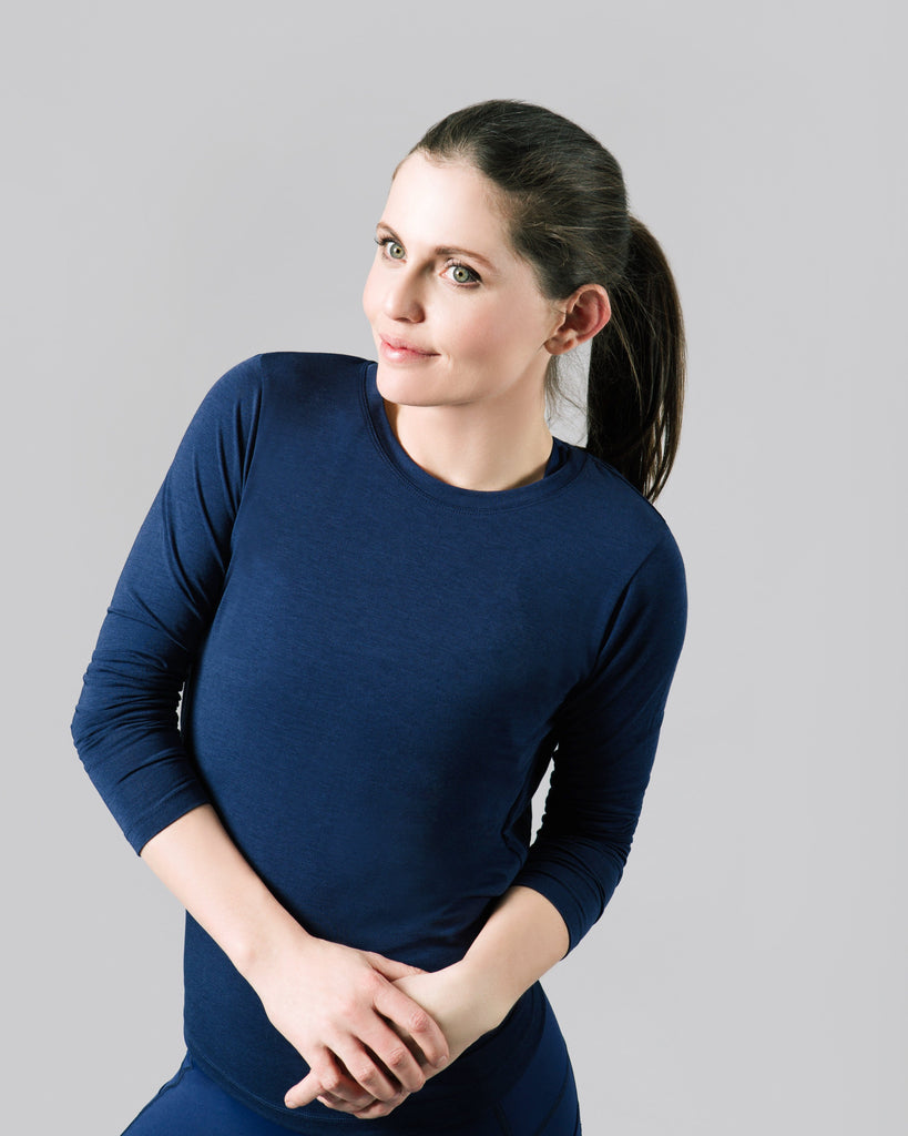 Aly Crossback Long Sleeve, Ink Blue