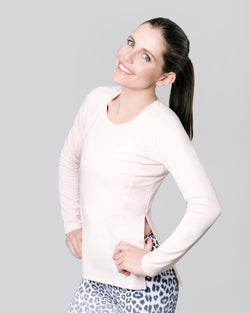 Debra Contour Seam Long Sleeve, Blush | Vie Active