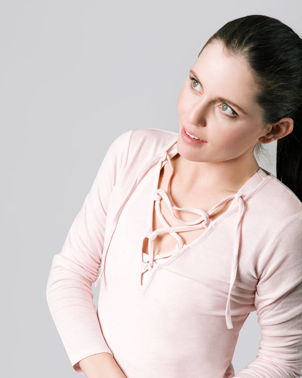 Felicia Tie Up Long Sleeve, Blush | Vie Active
